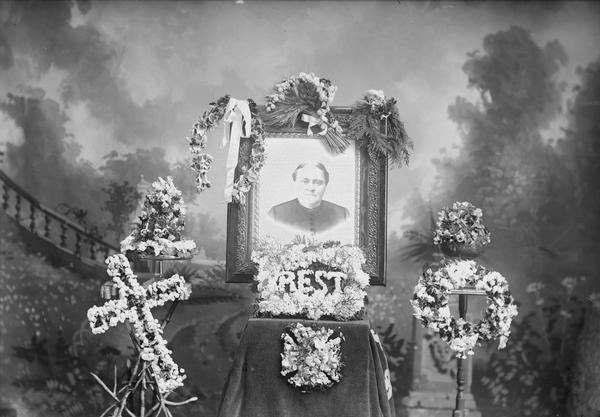 """""""Studio Portrait of Funeral Wreath, """"Charles J. Van Schaick, Wisconsin Historical Images, Wisconsin Death Trip"""