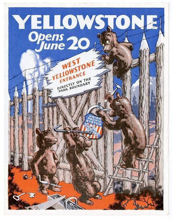 "Walter Oehrle, ""Yellowstone Opens June 20 West Yellowstone Entrance Directly on the Park Boundary"""